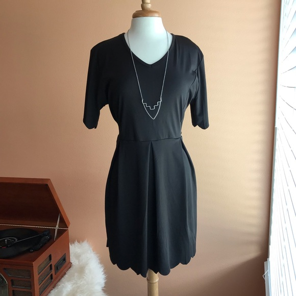Plus size little black dress with scalloped hems NWT